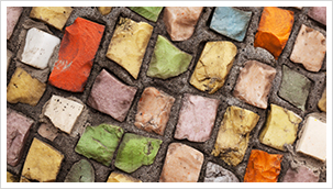 Multi-colored brick mosaic